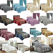 3 Piece Jacquard Quilted Bedspread Comforter Set Throw Bedding Set Double & King