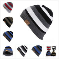 Men's Women Beanie Knit Ski Cap Hip-Hop Winter Warm Unisex Casual Stripe Hat G