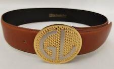 Vintage Guy Laroche Honey Brown Leather Strap Gold Silver Monogram Buckle 26in