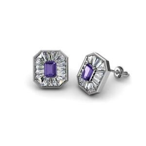 Iolite Diamond 1 1/5 ctw Women Milgrain Halo Stud Earrings Gold JP:241979
