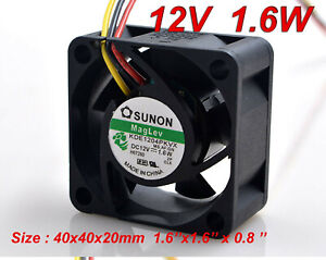 "SUNON Cooling Fan KDE1204PKVX 4020 DC 12V 1.6W 4CM 40x40x20mm 1.6""x1.6""x0.8"""