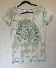 Adiktd 100% Cotton Short Sleeve Printed Embellished Top Size L