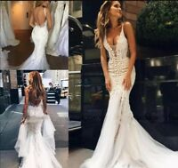 Mermaid Wedding Dresses Bridal Gowns Lace Applique Sweep Train Backless V Neck