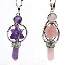 Natural Amethyst Quartz Crystal Chakra Pendulum Merkaba Reiki Healing Pendant