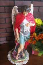 "Plaster / Chalkware  24"" ST. MICHAEL THE ARCHANGEL STATUE Made in USA ~ Nice!"