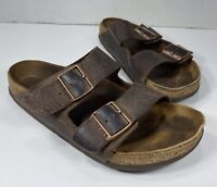 Birkenstock Women's Sandals Size 40 - Brown Buckle Leather Slip On