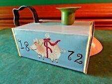 "Handpainted Metal Candle Holder Tinder Box W. Drawer & Handle, Pig Decor, 7.25""L"