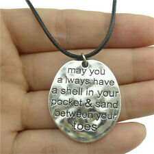 """89482 17"""" Leather Chain Alloy Silver Freeform Letter Pendant Necklace Religious"""
