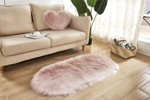 Fluffy Faux Fur Sheepskin Rug Floor Mat Extra Thick Chair Cover Blanket 4 Size