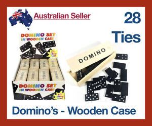 Dominos Wooden Case Wood Set Box Dominoes