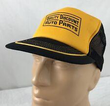 Vtg Quality Discount Auto Parts Hat Snapback Trucker Cap Black Yellow USA