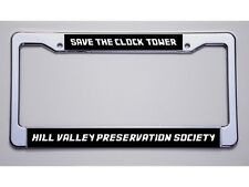 """BACK TO THE FUTURE FANS """"SAVE THE CLOCK TOWER"""" BLACK LICENSE PLATE FRAME"""