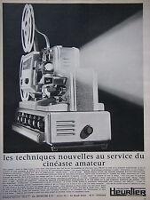 PUBLICITÉ DE PRESSE 1966 PROJECTEURS HEURTIER POUR CINÉASTE AMATEUR -ADVERTISING
