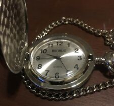 Benrus Quartz Pocket Watch with Chain with 18 Wheeler on Cover Working-# 388