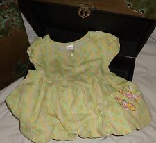 Gymboree Sunflower Fields White Yellow Pink Flower Shirt Size 8 7/8 and Clips
