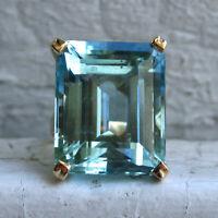 Gorgeous Princess Cut Aquamarine Wedding Ring Yellow Gold Promise Jewelry Sz6-10