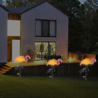 LED Solar Solarlampe Flamingo Beleuchtete Gartenstecker Leuchte Figur