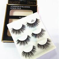 3 Pair 3D Natural Bushy Cross False Eyelashes Mink Hair Eye Lashes Makeup SKN