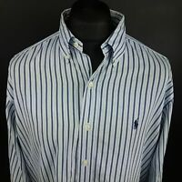 Ralph Lauren Mens Vintage Casual Shirt 2XL Long Sleeve Blue Classic Fit Striped