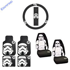 New Star Wars Storm Trooper 7Pc Set Floor Mat Seat Covers Steering Wheel Cover