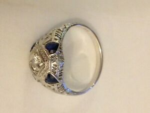 Vintage Antique Engagement Ring, Diamond and 4 Sapphires