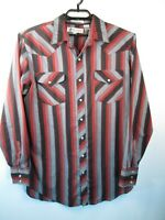 Diamond A Ranchwear Western Shirt Men L Tall Long Sleeve Pearl Snap Red Striped