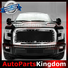15-16 Ford F150 Rivet Studded+Black Mesh Grille+Chrome Replacement Grill Shell