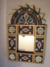 3g301 SMALL WOOD CARVED AND PAINTED FRAME MIRROR, folk art