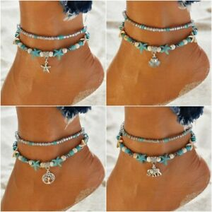 Boho Ankle Bracelet 2 Layer Anklet Adjustable Turquoise Chain Foot Beach Anklets