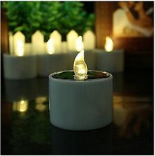 US 6pcs Solar Power LED Tealight Flickering Flameless Candle Light Decor