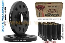 2PC 5X100 5X112 AUDI 15MM BLACK HUBCENTRIC WHEEL SPACERS KIT BLACK CONICAL BOLTS