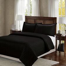 Satin Stripe Quilt Duvet Cover Bedding Case with Pillowcase Set Single Double