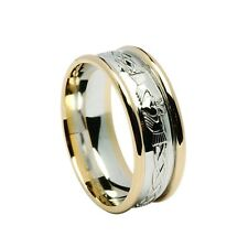 10ct White and Yellow Gold Rimmed Celtic Claddagh Wedding Band Ring Sizes S -Z+1