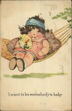 Charles Twelvetrees Kids c1915 Postcard - Fat Girl in Hammock