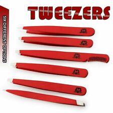 Tweezers Set 6-Piece Professional Stainless Steel Eyebrow Hair Pluckers+ Case UK