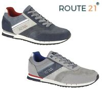 Mens Lace Up Pumps Trainers Casual Shoes - Navy Blue Grey  Size 6 7 8 9 10 11 12