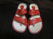 Clarks Artisan Coll. Red Hopper Leather Woven 2 Strap Sandal FLIP FLOP SHOE 8 M