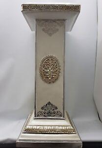 Decorative End Table Cream Antique Silver Gold Colour Italian Design Shabby Chic