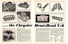 1964 THE CHRYSLER HEMI HEAD V-8 / DRAG & TRACK VERSION ~ ORIGINAL ARTICLE / AD