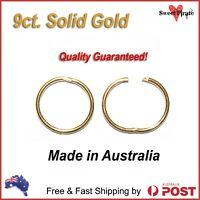 9ct Solid Gold Sleepers Hinged Non-allergic Aussie Made 8mm 10mm 12mm 14mm