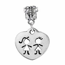 Twins Cutout Boy Girl Heart Brother Sister Dangle Charm fits European Bracelets