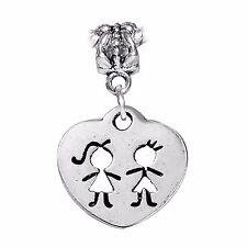 Twins Cutout Boy Girl Heart Brother Sister Dangle Charm for European Bracelets