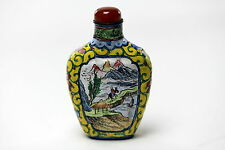 Antique Hand Painted Yellow Enamel Snuff Bottle Chinese signed