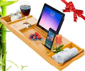 Extendable Bamboo Bath Tray|Bath Caddy| Bath Board with Tablet/Wine/Phone Holder