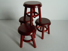 (H1.27) DOLLS HOUSE PACK OF FOUR WOODEN MAHOGANY COLOURED STOOLS