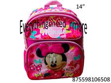 "Disney* Mnnie Mouse 14"" Mediun Canvas Pink 3D School Boys Backpack-6508"