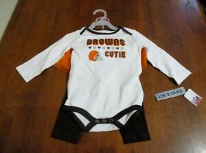 Baby Girl CLEVELAND BROWNS 2 Piece Outfit~Browns Cutie~Romper/Pants/Tulle NWT