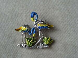 Vintage Jewellery Silver Tone Enamel Marcasite Flamingo Birds Brooch