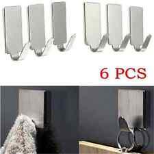 6PCS Silver Adhesive Kitchen Wall Door Stainless Steel Stick Holder Hook Hanger