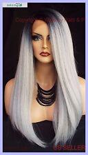 Lace Front Wig LONG SRAIGHT HEAT SAFE  ✯TT1B.DARKGREY ✯ SEXY FAST USA SELLER 379